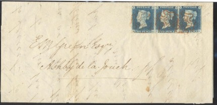 1840 2d blues on cover stamp